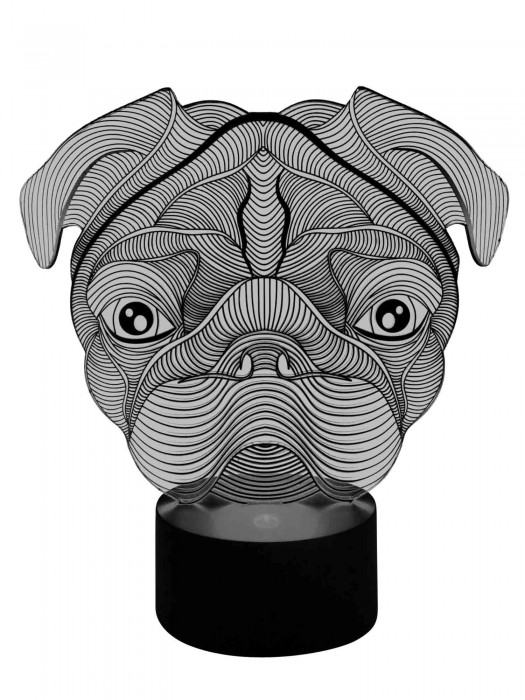 3D LED Lampe Bulldogge
