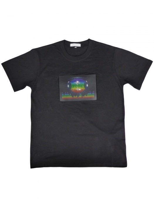 LED T-Shirt (Männer) mit EL Panel Motiv EQUALIZER-Head