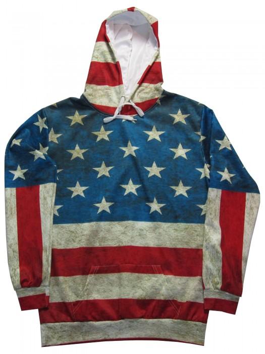 Herren Langarm Kapuzenpullover-Hoodie-mit Tasche Print Motiv USA