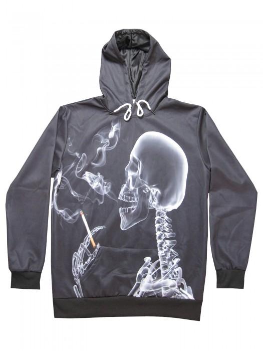 Kapuzenpullover Skelett mit Zigarette