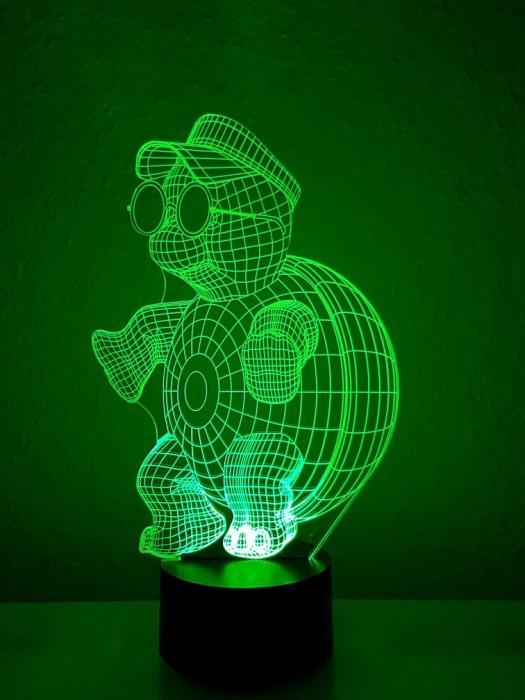 originelle 3D LED-Lampe grün, tolle Lampe Schildkröte,