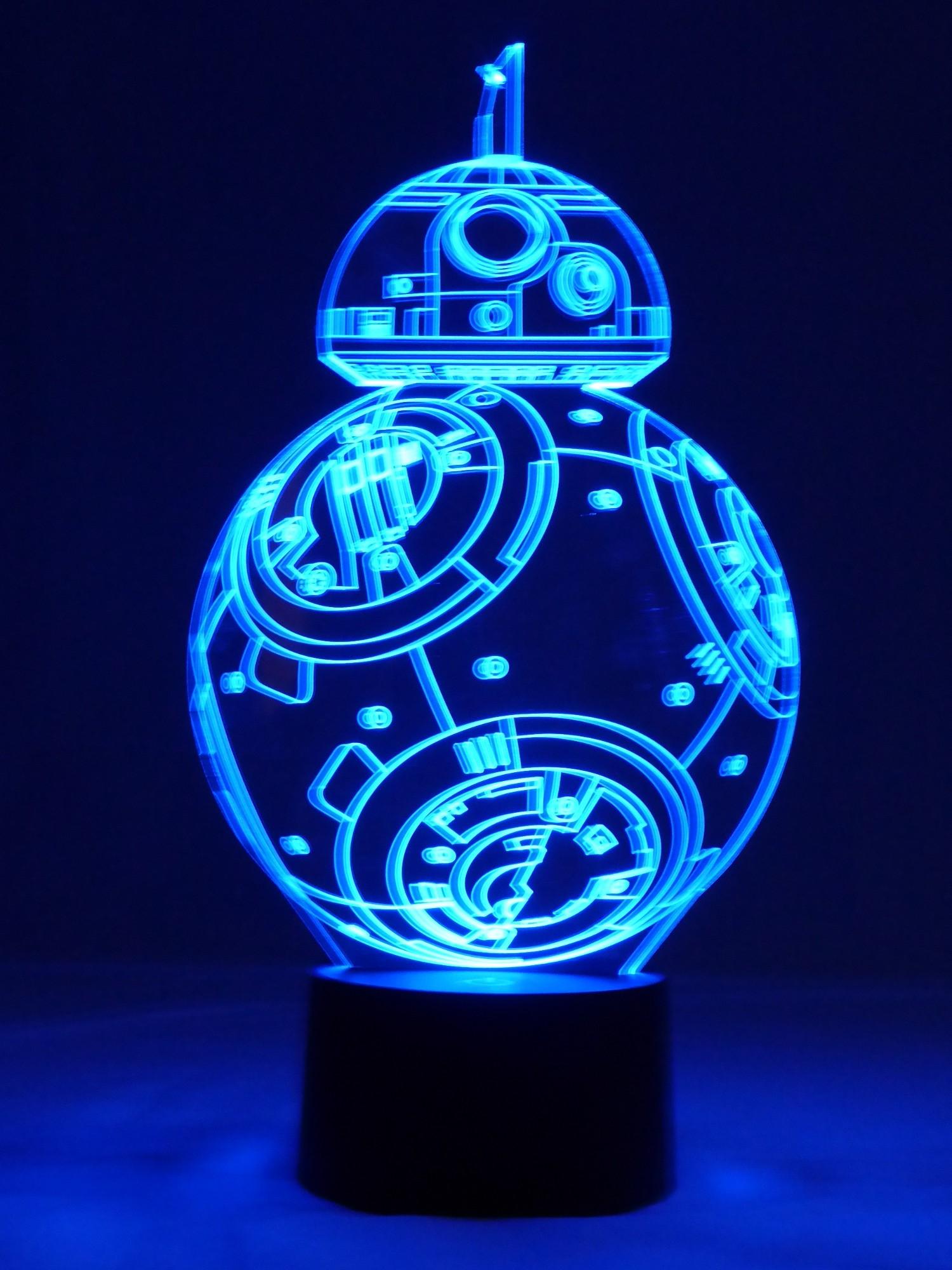 originelle 3d led lampe r2d2 droide tischlampe wohnlicht mit farbwechsel show effekt. Black Bedroom Furniture Sets. Home Design Ideas
