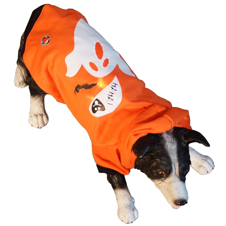 led hundebekleidung hundepullover orange f r gro e und kleine hunde mit leucht motiv geist in s. Black Bedroom Furniture Sets. Home Design Ideas