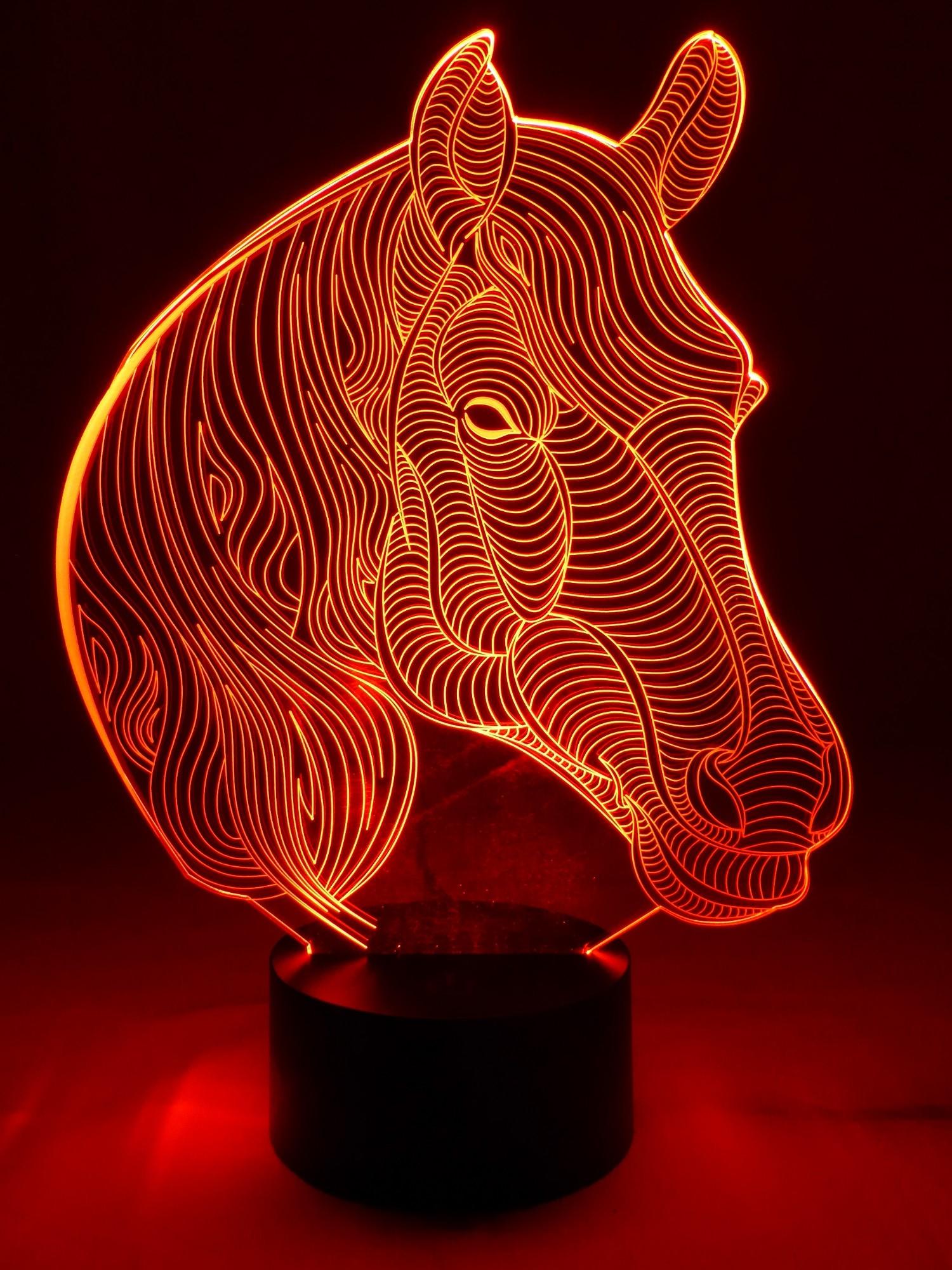 originelle 3D LED-Lampe Pferd Farbwechsellicht für Reitschulen Pferd ...