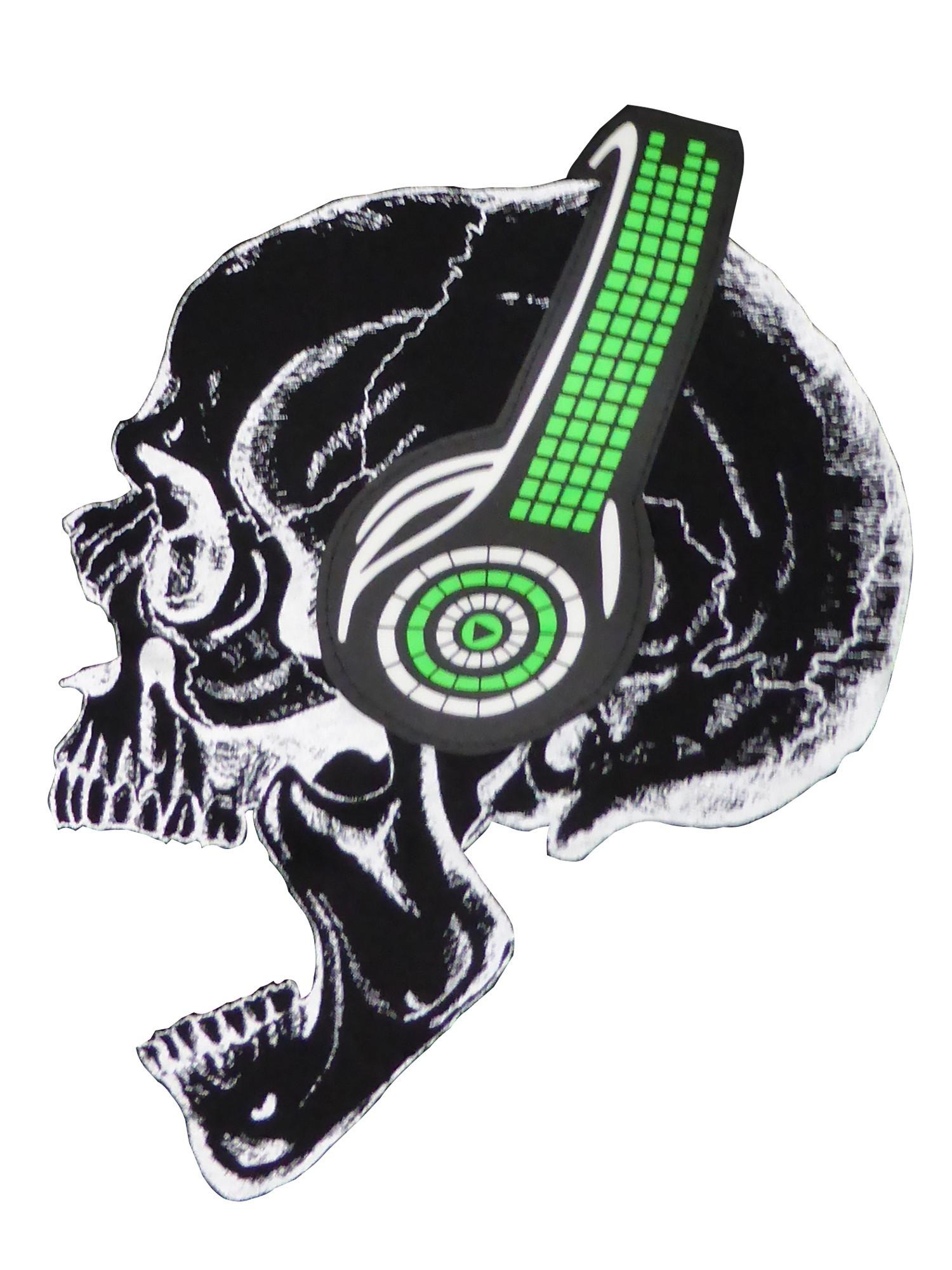 5bc3e48b23cb40 LED T-Shirt Totenkopf mit Kopfhörer Led-Shirt Totenkopf mit Kopfhörer ...