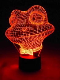 originelle 3D LED-Lampe lustiger Frosch als USB Tischleuchte im Kinderzimmer