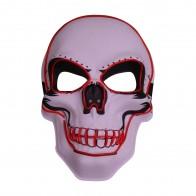 leuchtende Halloween LED-Maske Slasher Totenkopf-Schädel Leuchtmaske Partymaske
