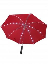 Led Regenschirm Sternenhimmel Rot  mit eingearbeiteter Taschenlampe