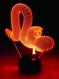 originelle 3D LED-Lampe lustige Schlange Craig als Nachtlampe Wohnlicht Kinderzimmer-Lampen
