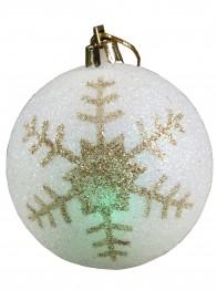 In verschiedenen Farben leuchtende kabellose LED Christbaumkugel, Weihnachtskugel goldene 'Schneeflocke'