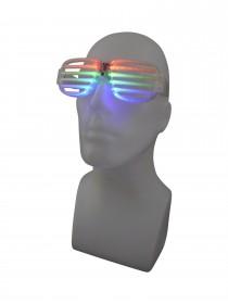 Shutter Atzen Rasterbrille LED-Brille Karneval Partybrille Leuchtbrille Spassbrille Leuchtfarben Rot Grün Blau