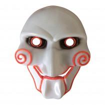 Halloween Leuchtmaske Gesichtsmaske  als leuchtende  Horror LED JIGSAW  SAW-Maske für Karneval und Fasching