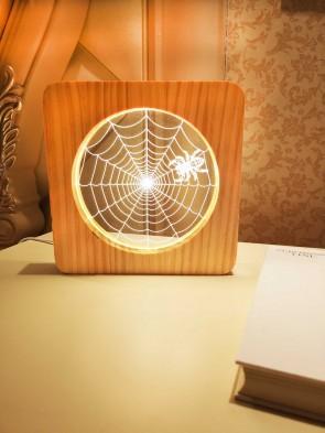 Originelle LED Motiv Lampe Spinnennetz mit 3D Effekt und Holzrahmen Stimmungsleuchte Orientierungslicht Design Objekt Tischlampe
