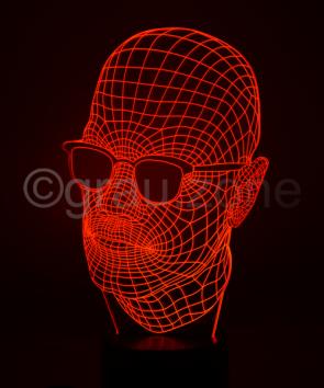 Originelle 3D LED-Lampe Glatzkopf