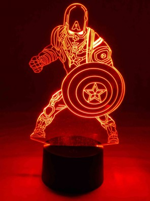 originelle 3D LED-Lampe Superheld Captain America als Wohnlicht Tischlampe