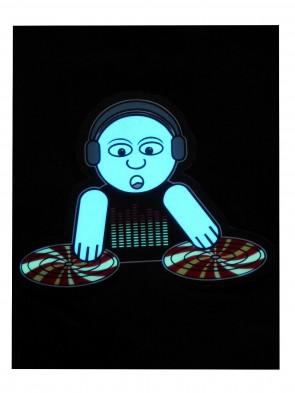 LED T-Shirt aus Baumwolle mit elektronischem Leuchtpanel Motiv Active DJ-Crazy Clothing als Leucht-Shirt