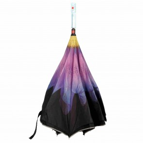 umgedrehter LED Regenschirm lila Blume leuchtender blinkender Mehrfarben Stockschirm mit Taschenlampe im Griff
