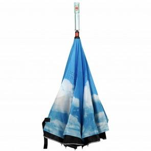 umgedrehter LED Regenschirm Himmel leuchtender blinkender Mehrfarben Stockschirm mit Taschenlampe im Griff