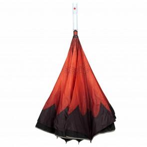 umgedrehter LED Regenschirm rote Blume leuchtender blinkender Mehrfarben Stockschirm mit Taschenlampe im Griff