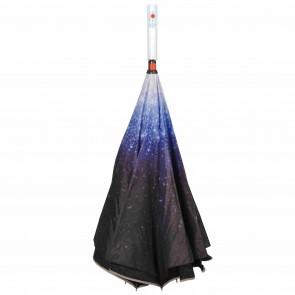 umgedrehter LED Regenschirm outer space  leuchtender blinkender Mehrfarben Stockschirm mit Taschenlampe im Griff