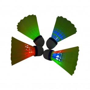 Badminton Federbälle Set mit LED-Beleuchtung Rot Blau Grün Mehrfarben-Licht Shuttle-Cock