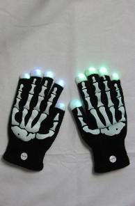 LED Skelett Knochen Leucht-Handschuhe Fingerhandschuhe Halloween Karneval Fastnacht Sylvester