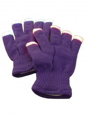 leuchtende blinkende Lila LED Kinder- Handschuhe Mädchen Fingerhandschuhe