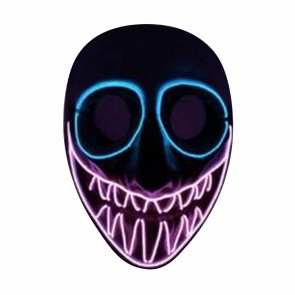Halloween Horror Leucht-Maske leuchtender LED Clown fieser Totenkopf für Karneval und Fasching