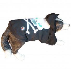 LED Hundepullover Schwarz mit leuchtender und blinkender Piratenflagge