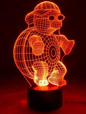 originelle 3D LED-Lampe Schildkröte mit Sonnenbrille + Basecap im Kinderzimmer