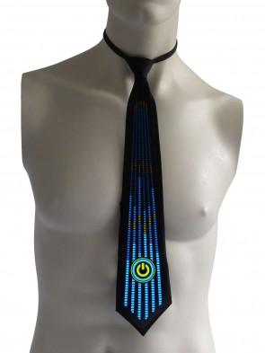 leuchtende blinkende LED Krawatte An/Aus Knopf Karneval Fasching Fastnacht Party