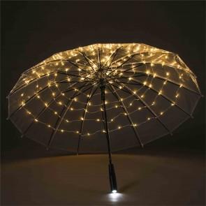 LED Regenschirm Transparent, Leuchtlicht Weiß mit 120 eingearbeiteten LED s sowie Taschenlampe