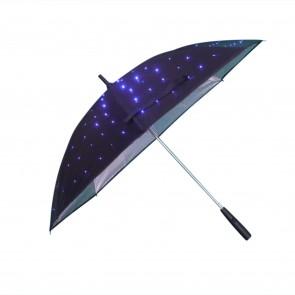 LED Regenschirm Sternenhimmel Leuchtfarbe Blau mit eingearbeiteter Taschenlampe