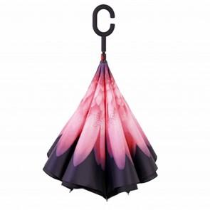 Regenschirm umgedreht Pink Rote Blume Stockschirm doppellagig Sturmfest Windsicher
