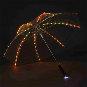 LED Regenschirm Transparent, buntes Leuchtlicht mit 80 eingearbeiteten LED s sowie Taschenlampe