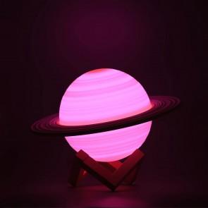 LED Tischlampe Motiv Lampe Saturn Touch 16 Farben Deko-Leuchte wiederaufladbar Mond Nachtlicht mit Fernbedienung