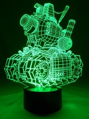 originelle 3D LED-Lampe lustiger Blechhaufen,Tischlampe als rollende Festung