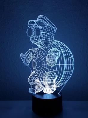 Originelle 3D LED-Lampe Turtle