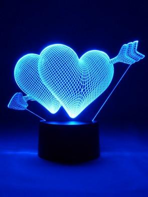 Originelle 3D LED-Lampe Tischlampe Nachttischlampe Mehrfarbenlicht Wohnlicht Wohnzimmer Schlafzimmer Motivlampe Doppelherz