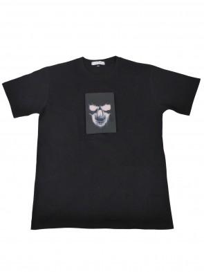 LED FUN Spass T-Shirt aus Baumwolle mit Leucht-Motiv:  Totenkopf-Schädel in XS, S, M, L, XL, XXL, XXXL