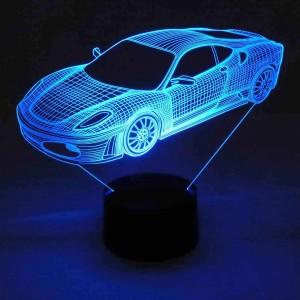 3D LED-Lampe Sportwagen Farbwechsel-Leuchte Wohnlicht Tischlampe Tischleuchte Nachttischlampe