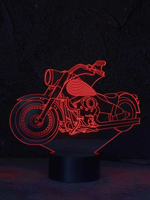 originelle 3D LED-Lampe FAT Motorrad Biker Designer-Leuchte Farbwechsel Tischleuchte Tischlampe Show-Effekt Motrradfahrer Clubhaus