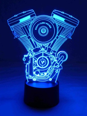 originelle 3D LED-Lampe Harley Davidson Licht V2 Motor Wohnlicht Mehrfarbenlicht Farbwechsel Motorradfahrer Clubhaus