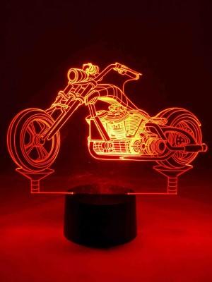 3D-LED Lampe Chopper Tischlampe Leuchte Wohnlicht Nachtlicht Show-Effect  Motorradfahrer Biker