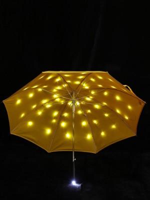 LED Regenschirm Sternenhimmel Gelb mit eingearbeiteter Taschenlampe