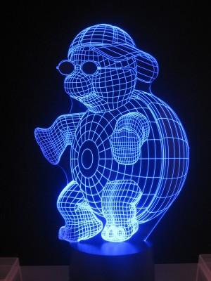 originelle  3D LED Lampe Turtle, Schildkröte mit Schirmmütze als Stimmungslicht