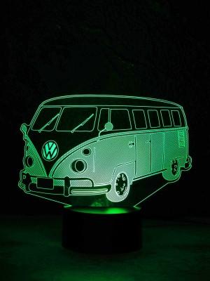 originelle 3D LED-Lampe Farbwechselleuchte  Wohnlicht Tischlampe Tischleuchte Nachttischlampe Motivlampe VW Bus