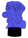 3D LED-Lampe ET niedliches Monster Tischlampe Nachtlicht Nachttischlampe Wohnlicht Farbwechsel Tischleuchteischleuchte
