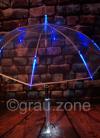 LED-Regenschirm Transparent Blau mit eingearbeiteter Taschenlampe