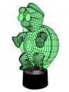 originelle 3D LED-Lampe niedliche Schildkröte mit Mütze Tischleuchte Nachttischlampe Kinderzimmer